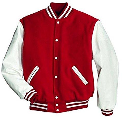 Windhound Original College Jacke rot mit weißen Echtleder Ärmel XXXXL (Jacke Leder Herren Weiß)