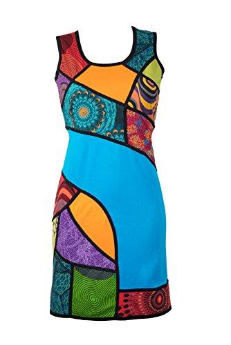 kleid mit bunten Ethno Muster in Patchwork Design – Hippie Chic – 100% Baumwolle - AIKO (L/XL) (Ausgefallenes Kleid Hippie)