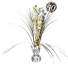 Idea Regalo - amscan 11029433cm Gold Celebrazione 40th centrotavola Spray