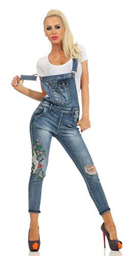 Fashion4Young 10844 Damen Latzhose Pants Tr/äger R/öhrenjeans Lederimitat Wet Look Jeans Overall