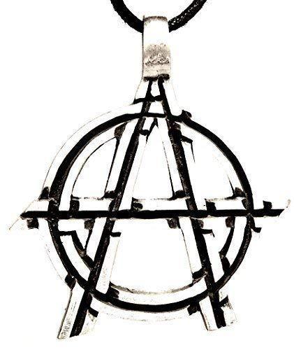 Anarchie-Symbol Anhänger aus Zinn mit Baumwollband (Ring Anarchie)