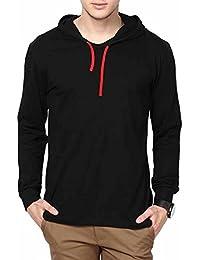 Urbano Fashion Mens Black Full Sleeve Hooded T Shirt