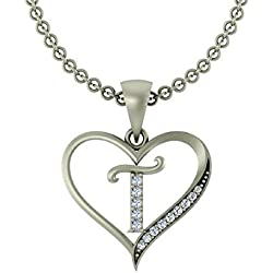 "Yanaa Creation Silver Brass Initial Letter ""T"" in Heart Shaped with Chain for Men and Women"