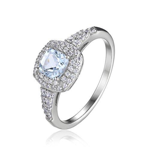 JewelryPalace Anillo en 925 Plata de ley adonado con Aguamarina Natural de boda Tamaño 11