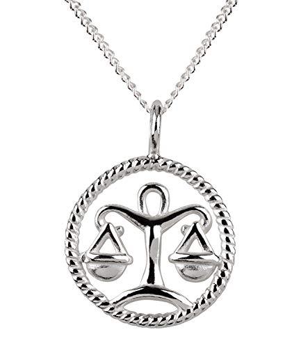 SIX Damen Halskette, Gliederkette, Sterling Silber, 925er Silber, Gliederkette, Horoskop, Sternzeichen, Waage, silber (386-273)