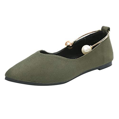 schuhe MäDchen Damen Sandalen Sommer, Wildleder Flach Flach Perle Flachen Mund Einzelne Schuhe Hohlen Sandalen Anti-Shedding Mode Wild LäSsig Weich ()