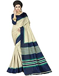 E-VASTRAM Womens Crepe Printed Art Silk Saree(V3108_Beige)