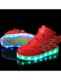 aemember luz LED hasta zapatos, niños de zapatos atléticos/Casual Sintético Zapatillas Deportivas Negro/Azul/Verde/Rosa/Rojo/Blanco, US2 / EU33 / UK1 Little Kids, Rojo