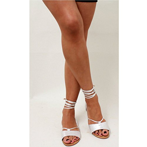 d788943585e0b Womens Ladies Tie Up Gladiator Flat Sandals Strappy Summer Metallic Shoes  Size