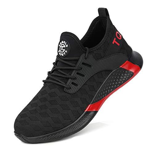 TQGOLD® Sicherheitsschuhe Herren Damen Arbeitsschuhe mit Stahlkappen S3 Arbeitsschuhe Leicht Atmungsaktive Sportlich Sneaker Schutzschuhe(8192Schwarz - Sicherheitsschuhe Damen
