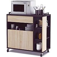 Abitti Mueble de Cocina Auxiliar para microondas en Color Negro y Roble 80x76cm