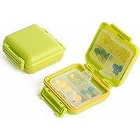 Preisvergleich für Versiegelt Moistureproof Medizin - Box Tragbare Medizin - Box Teilte Pillendose Mini - Medizin - Fall,Grüne