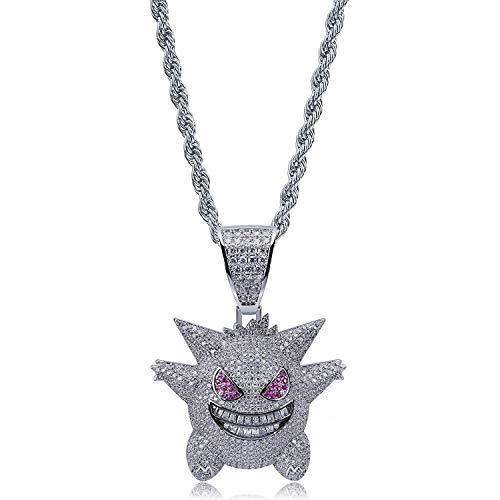 Qiulv Geist Hiphop Emoji Anhänger Iced Out 18 Karat vergoldet Elf-Pokémon Halskette Inlay Volles Zirkonia Anhänger Kette Lustiger Dämon Schmuck Lila,Silver
