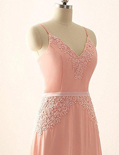 JAEDEN Elegante scollo a V Abiti da ballo lungo Chiffon Vestito da sera Abiti da damigella Corallo