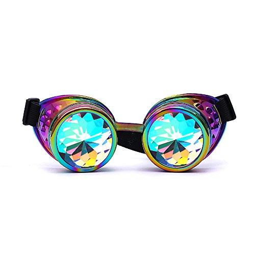 VRTUR Kaleidoscope Goggles Weinlese-Art Gotische Retro Steampunk Cosplay Brille Glasses Welding Punk Brille Sonnenbrille Linse Glasses(One size,X-Mehrfarbig)