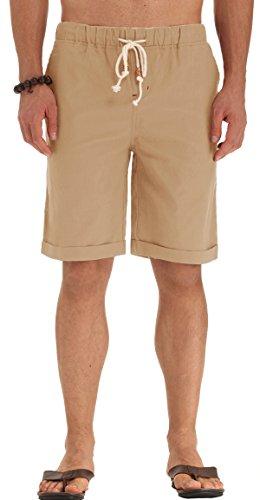 POSESHE Herren Drawstring Elastisch Leinen Sommer Beach Knielang Hosen (Khaki L) (Hose Leinen Khaki)