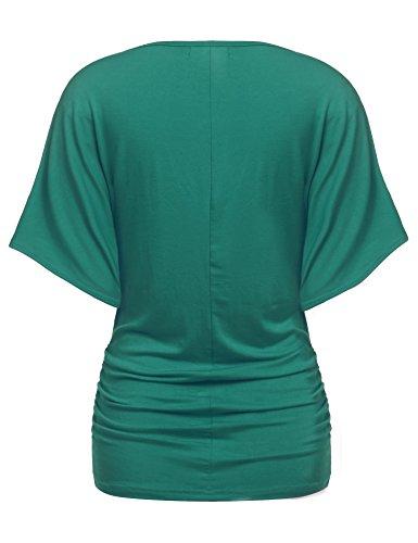 810ee48fe306 Zeagoo Damen V-Ausschnitt T-shirt Kurzarm Batwing Fledermaus Sommer Shirt  Tunika Bluse Dunkelgrün