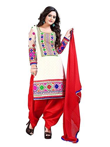 Generic Women's Cotton Punjabi Patiala Salwar Suit(White Patiala White & Red Free...
