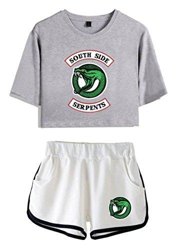 ZIGJOY Riverdale Crop Top T-Shirts und Shorts Kleidung Anzug für Mädchen und Frauen S