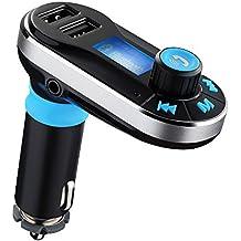 TopElek Transmisor Bluetooth de FM y Música para Coche Manos Libres, Aporta y Cargador de Doble USB Compatible con iPhone 6 Android Smartphones y Dispositivos Bluetooth