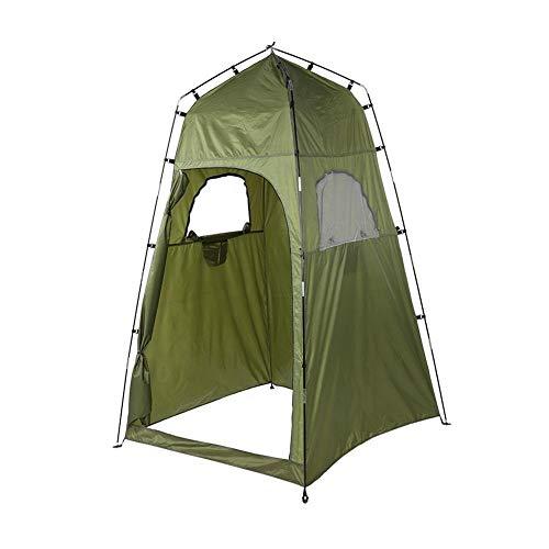 Delaman Duschzelt, Tragbares 210T Polyester-Campingzelt, Wasserdichtes Campingunterstand-Toiletten-Sichtschutz-Umkleidezimmer, Einfacher Aufbau, Faltbar, Mit Tragetasche, Grün