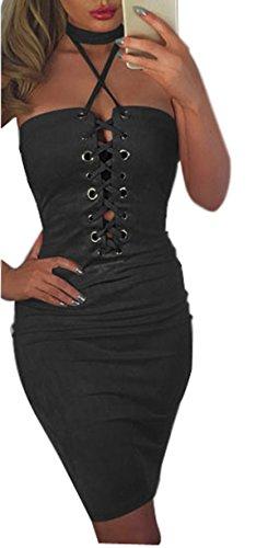 Minetom donna estate sexy vestiti senza maniche bodycon lace-up halterneck abito eleganti vestito da partito nero it 42
