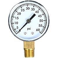 KKmoon 0~60 psi Medidor de presión mecánica Filtro de piscina Medidor de presión de aire de agua de acuario con 50 mm Dial 1/4 pulgada NPT Montaje inferior