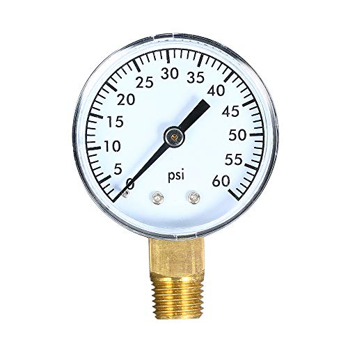 Fesjoy Mechanische Manometer 0~60 psi Pool Filter Aquarium Wasser mit 50 mm Zifferblatt 1/4 Zoll NPT Bottom Mount Luftdruckprüfer Meter -