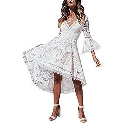 ufat ansy Mujer Verano Ropa Vestido De Encaje Vestido De Playa Swing Boho Vestido Ropa de Noche M-White M