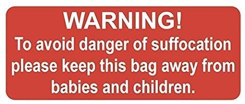 Avertissement de sécurité 100 Suffocation, idéal pour les sachets pression Grip en polyéthylène &/ étiquettes/Rouge Brillant 20 x 50 mm-adhésif