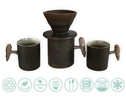 Globe Faith umweltfreundliche Keramik-Kaffeetasse und Kaffeebecher, wiederverwendbar, tragbar, für Kaffee, Brauer und Espresso-Tassen, Dunkelbraun