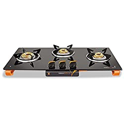 Vidiem Ignitio Glass 3 Burner Gas Stove, Black
