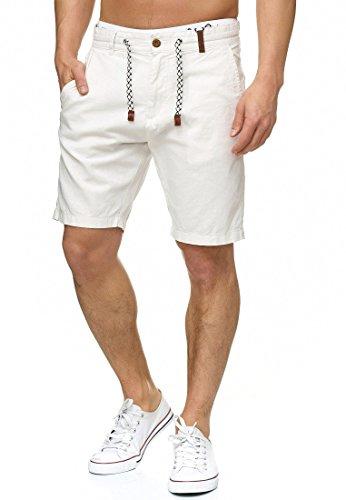 Indicode Herren Bowmanville Shorts aus 55% Leinen & 45% Baumwolle | Kurze Regular Fit Hose Leinen-Shorts Sommerhose Herrenshorts Short Men Pants Freizeithose kurz für Männer in Offwhite Large