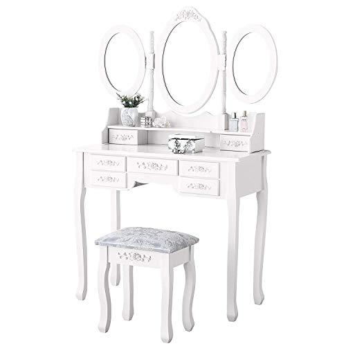 MQQ Nordic Massivholz Make-up Eitelkeit Mit 7 Schubladen Schminktisch Set Mit Dreifachspiegel Mädchen Frauen Holz Schminktisch Gepolsterte Hocker Schlafzimmermöbel -