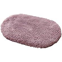 Rollsnownow Hôtel salle de bain douche mat gris pourpre en coton matériel ovale doux et sûr et durable facile à nettoyer insipide 60 * 40cm bande de roulement absorbant WC salle de bain douche tapis porte accessoires de salle de bain