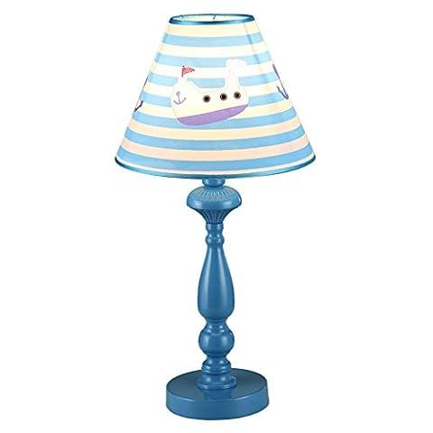 JIAHONG Modern Cloth Crafts Kids Room Blue Cute Lampes de table, chambre à coucher Apprentissage de la protection des yeux Boy Lighting Lampe de table, LED Night Light