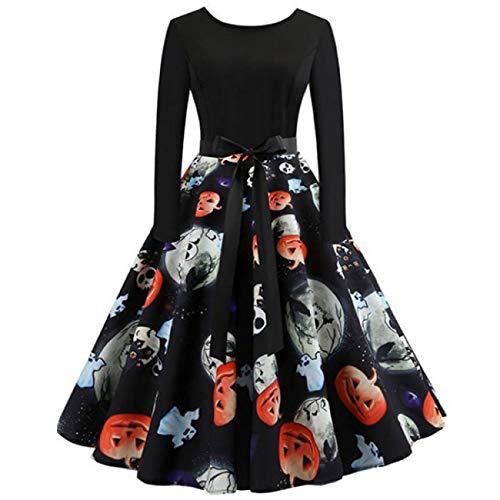 ERFD&GRF Halloween Terror Schädel Kürbis Ghost Print Kleid Für Frauen Phantasie Horror Party Slim Swing Plissee Midi Kleid Kostüm Plus Größe, Schwarz 02, XXXL (Vampir Kostüm Plus Größe)