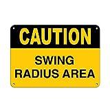 Precaución Swing Radio zona carretilla elevadora y grúa pegatinas cita signo de aluminio Metal Sign Regalo para hombres seguridad Yard Sign
