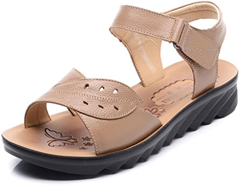 ZCJB Summer Mom Shoes Zapatos De Mujer De Mediana Edad De Cuero Soft Bottom Cómodo Sandalias De Mediana Edad Old...