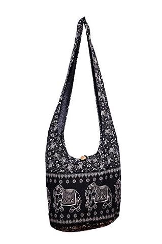 Avarada Cotton Hippie Hobo Sling Shoulder Bag Bohemian Bag Elephant Print Black