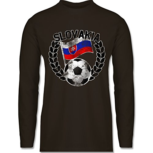 Shirtracer Fußball - Slovakia Flagge & Fußball Vintage - Herren Langarmshirt Braun