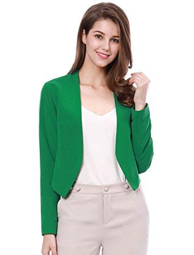 Grün Blazer Jacke (Allegra K Damen Langarm Offen Asymmetrisch Cropped Blazer Jacke Grün S (EU 38))