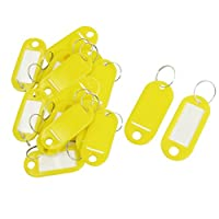 Nopea Plastic Key Fobs Luggage ID Tags Labels Key Chain with Name Labels for Luggage Bag Pack of 20Yellow