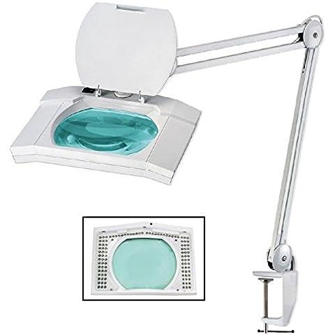 Lampada da tavolo con lente d'ingrandimento e luce da 108 LED e 5 diottrie.