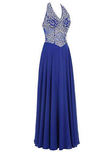 Bbonlinedress Damen Chiffon A-Line mit Pailletten Party Halter Formal Abendkleid Grün