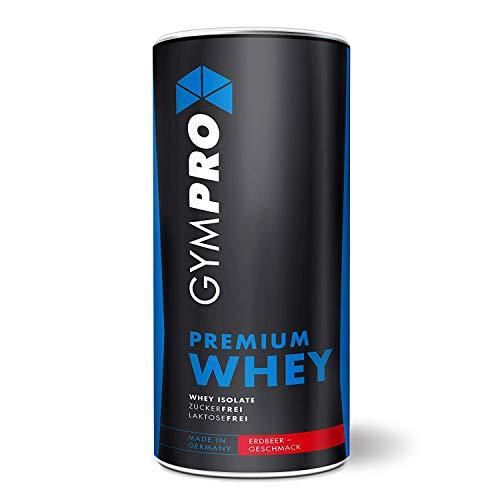 GymPro - Premium Whey Protein Pulver (Erdbeere 1000g) laktosefrei mit 88% reinem Eiweiss. Whey Isolat & Whey Konzentrat mit Aminosäuren (BCAA). Hergestellt in Deutschland.