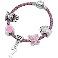 Children's Pink Leather Happy 7th Birthday Charm Bracelet With Lovely Jewellery Hut Gift Pouch - Girl's & Children's Birthday Gift Jewellery