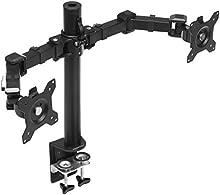 AmazonBasics - Supporto per Doppio monitor, con montaggio a scrivania, braccio regolabile in altezza, in acciaio
