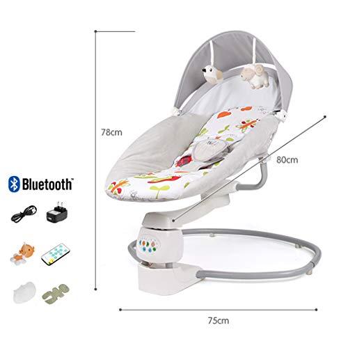 Xinjin Baby Rocker, Baby Bouncer mit Fernbedienung Baby Comfort Swing Chair Weicher Wiegesitz for Kleinkinder, 360 ° -Drehung, Vibrationssensorfunktion (Bouncer Baby Swing Und)