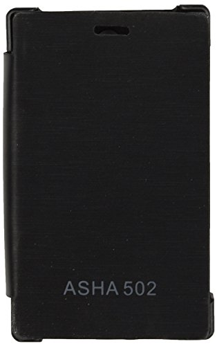 iCandy™ Synthetic Leather Flip Cover For Nokia Asha 502 - BLACK  available at amazon for Rs.180